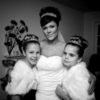 Black and white photo of a Bride and Her Bride's Maids